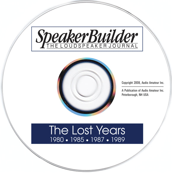 Speaker Builder: The Lost Years on CD - CC-Webshop