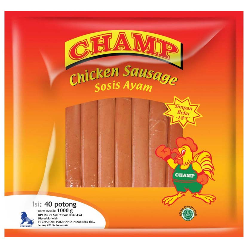 Champ Chicken Sausages 1Kg 1 Ctn (Isi 10 pack)