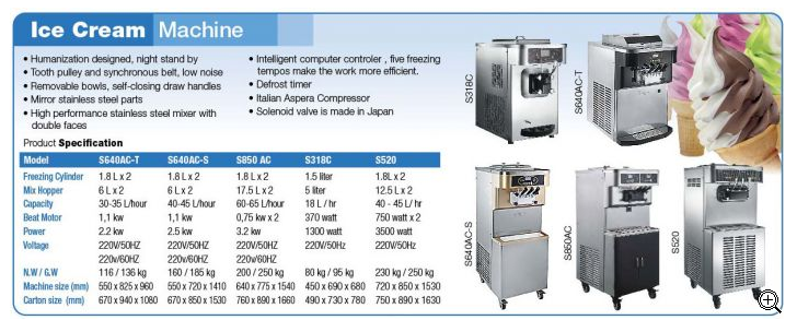 ICE CREAM MACHINE S640‐AC STANDING (3 TASTE)