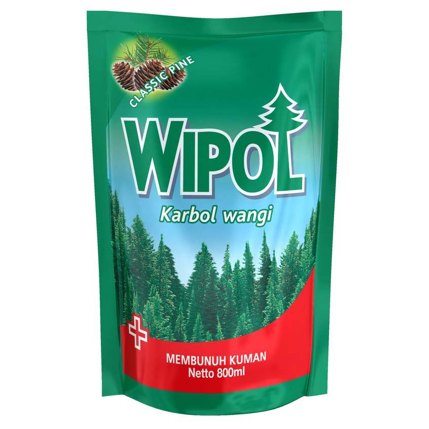 Wipol Classic Pine Pouch 800/780ml 1 Ctn (Isi 12 pcs)