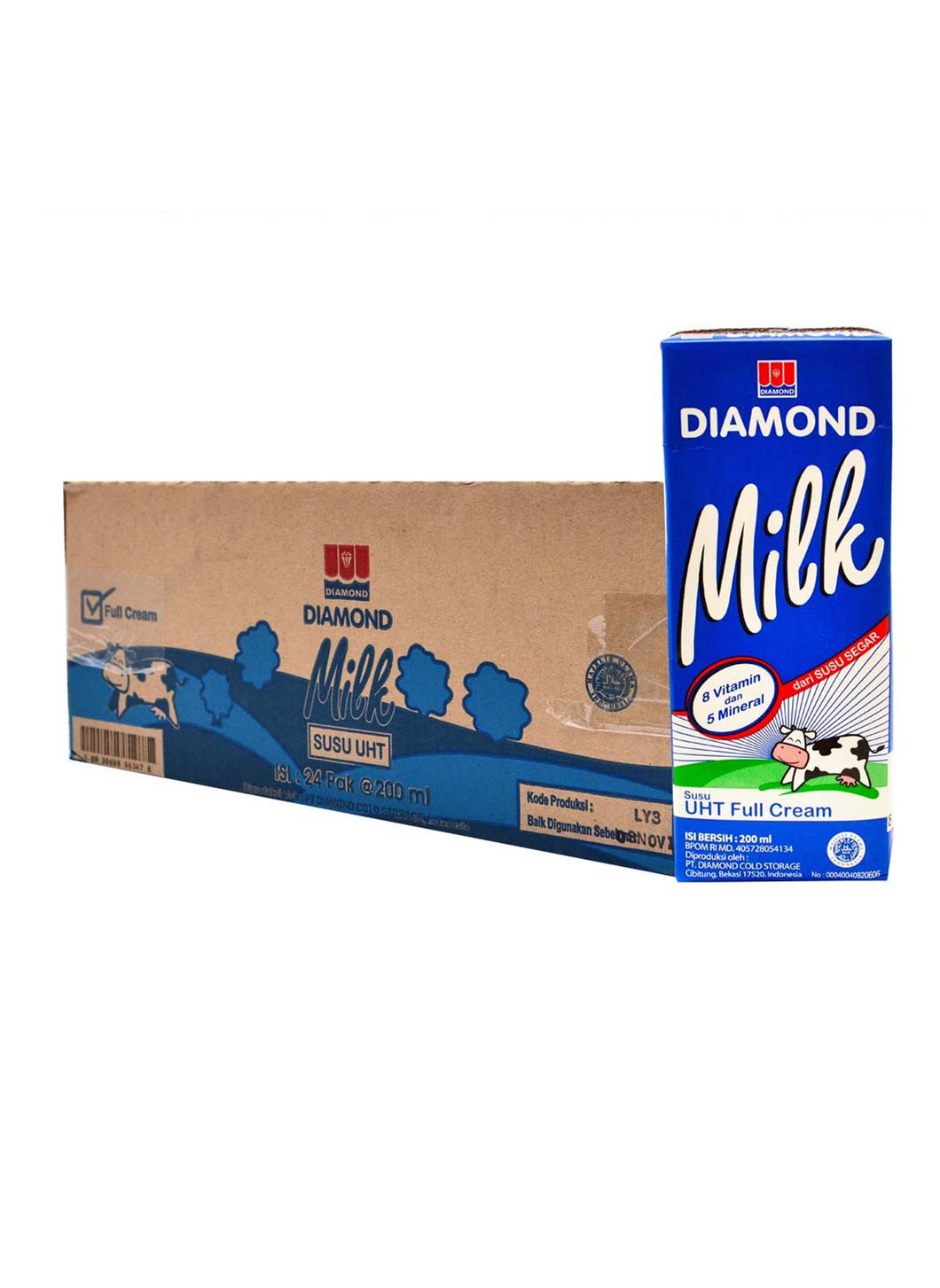 Diamond Susu Uht Full Cream 1L 1 Ctn (Isi 12 Pcs)