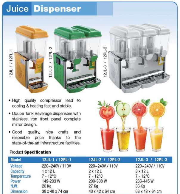 JUICE DISPENSER 12 X 3 tube spraying