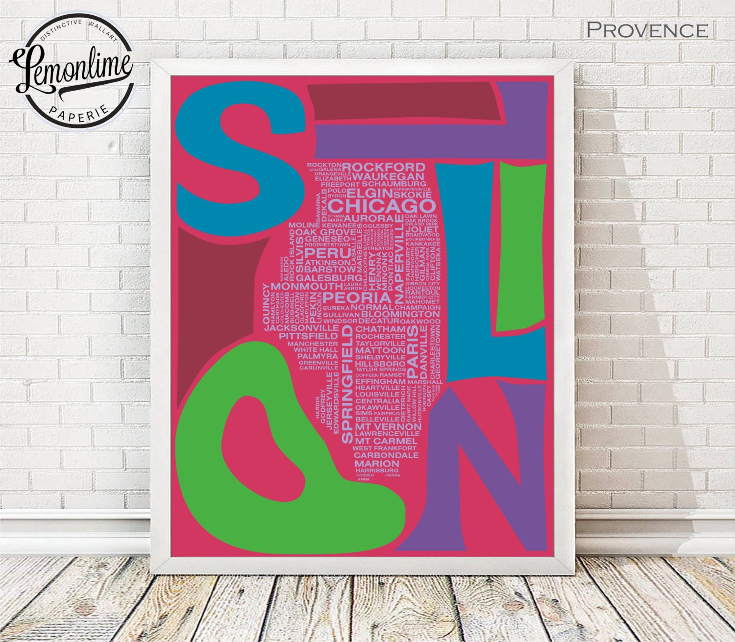 Illinois Typography City Outline Map Print Poster Choose Your