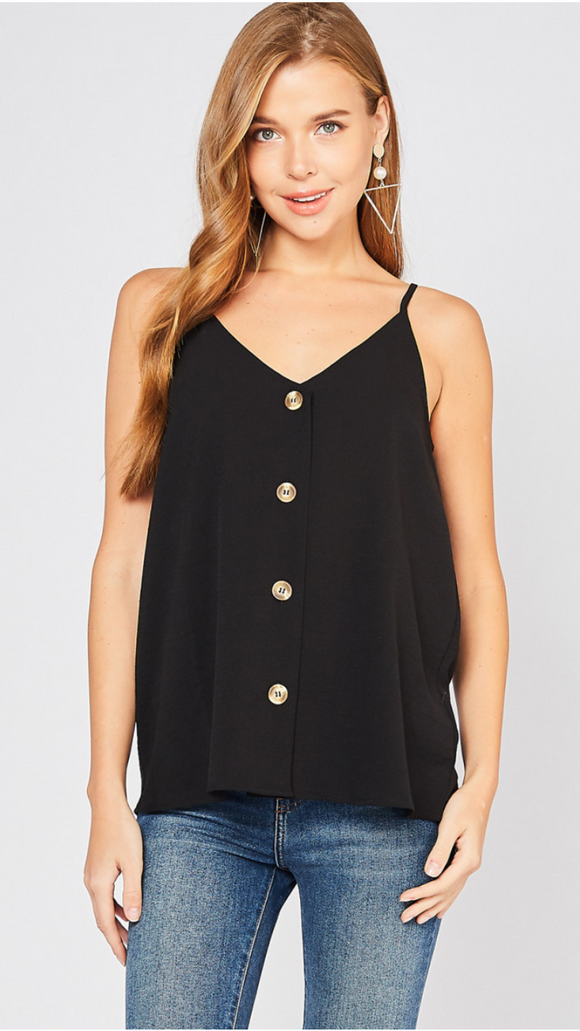 Black Button Front Cami