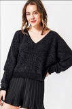 Black Chenille V-neck Sweater