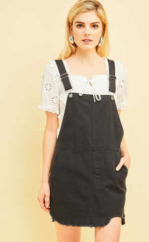Bella Black Distressed Overall Dress