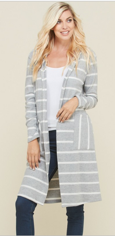 Grey & White Stripe Cardigan