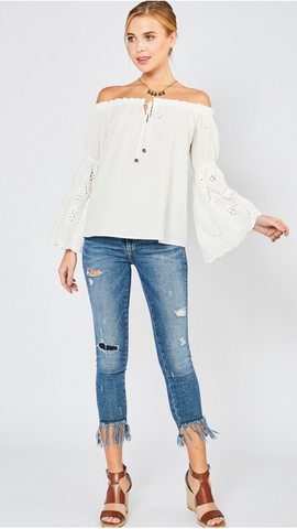 White Lace Sleeve Peasant Top