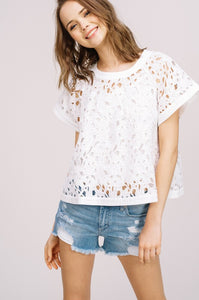 Lace Short Sleeve Shell in White