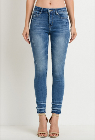 Mid-rise Fringe Cuff Jeans