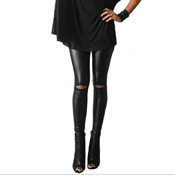 Leather Split Knee Legging