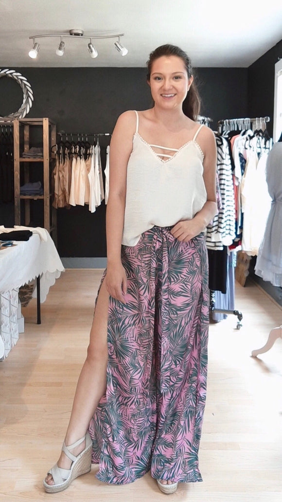 Palm Print Wrap Pants