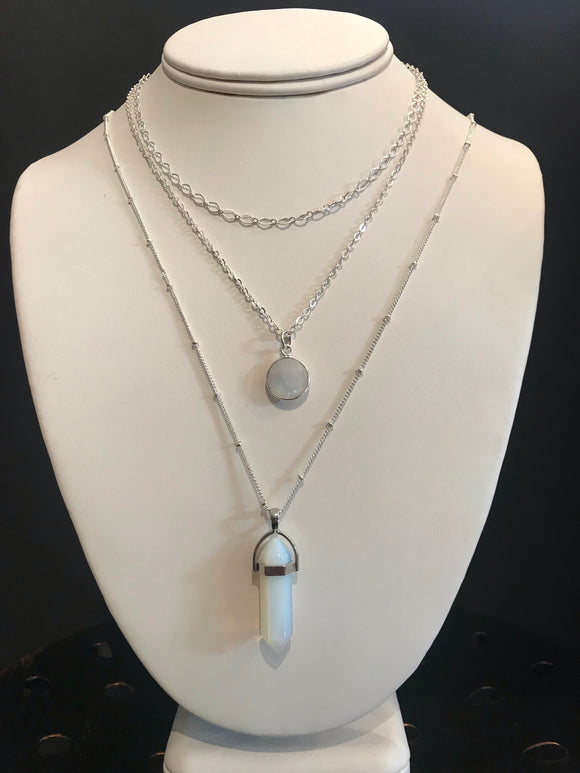 Moonstone Quartz Tiered Necklace
