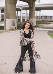 Distressed Black Bell Bottoms