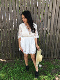 White Lace V-Neck Romper