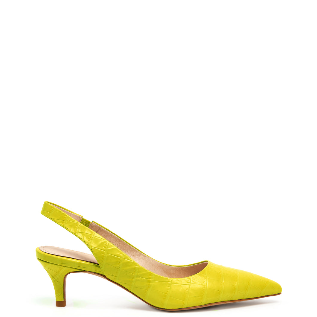 Kathryn Wilson Harry Heel Yellow Acid Croc