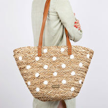 Gioseppo Donini Natural Fibre Bag With White Polka Dots