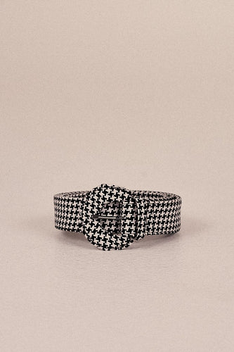 JAGGAR The Label Buckle Belt Houndstooth Black/White
