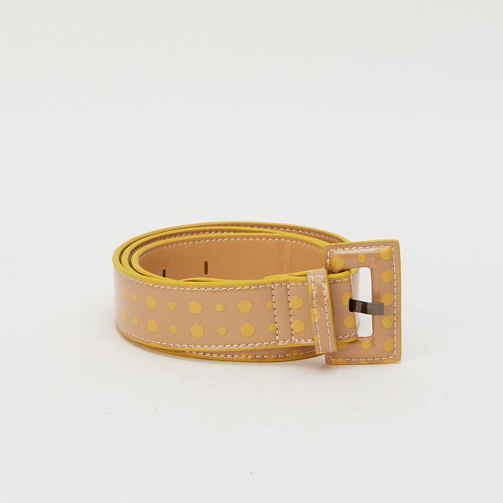 Jaggar The Label Buckle Belt Nude with Yellow Spots OS