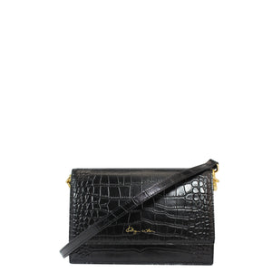 KATHRYN WILSON Sasha Fierce Shoulder Bag Black Croc
