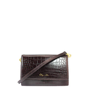 KATHRYN WILSON Sasha Fierce Shoulder Bag Raisin Croc