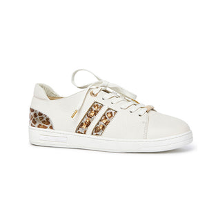 Kathryn Wilson Danni Trainer White Leather/Met Leopard