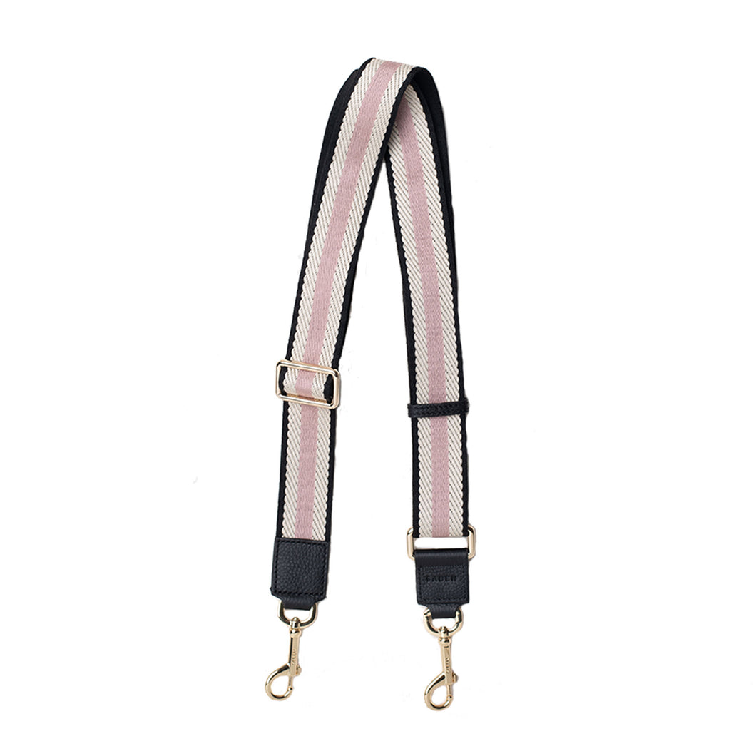 Saben Feature Strap Black/Pink/White Herringbone Wide