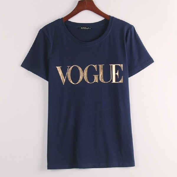 XS-4XL T-shirt summer best selling for women with printed VOGUE word
