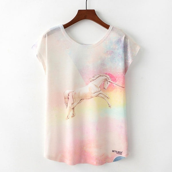 T-shirt for women with cartoon print on t-shirt