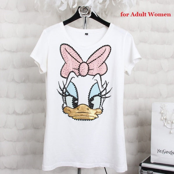 Plus size 4XL Women Summer Short Sleeve Sequined Donald Duck Print T shirts Fashion White Top Tees Women girls Designer Clothing
