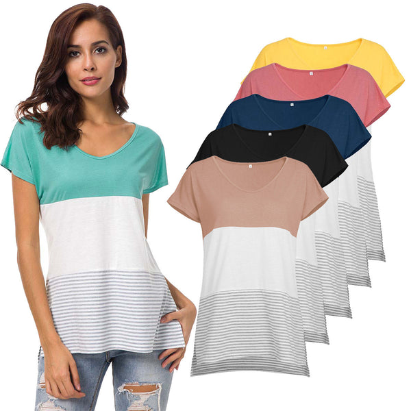 T-shirt with three-color neckline for women