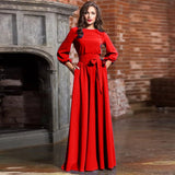 Luzuzi Spring woman O-Neck long dress new bohemian style slim vestidos vintage three quarter lantern sleeve casual dress CR6498