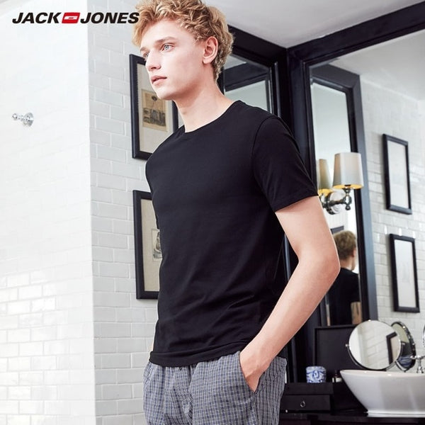 JackJones 2019 Brand New Men's Cotton T shirt Solid Colors T-Shirt Top Fashion tshirt men's Tee More Colors 3XL 2181T4517