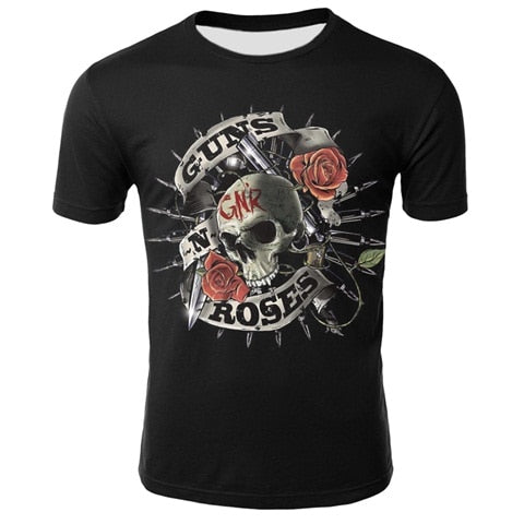 2019 Novelty 3D T Shirt Men Roses And Guns T Shirt Short Sleeve Men/Women Guns N Roses Clothing Tshirt Shirt Tee Tops Wholesale