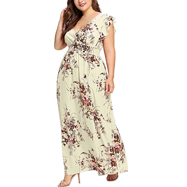 Women Plus Size Summer V Neck Floral Print Boho Sleeveless Party Maxi Dress  l colorful comfortable breathe fashion saia#X