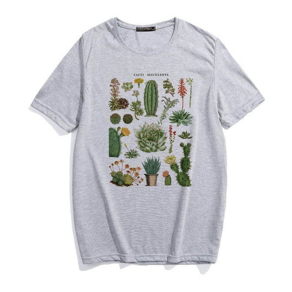 Harajuku plant cactus fleshy cute letter print female T-shirt ulzzang fashion summer loose casual O-neck Retro women's clothing