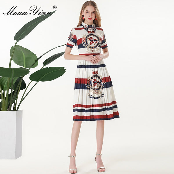 MoaaYina Fashion Designer Runway dress Spring Summer Women Dress Short sleeve Beading Stripe Print Slim Elegant Pleated Dresses