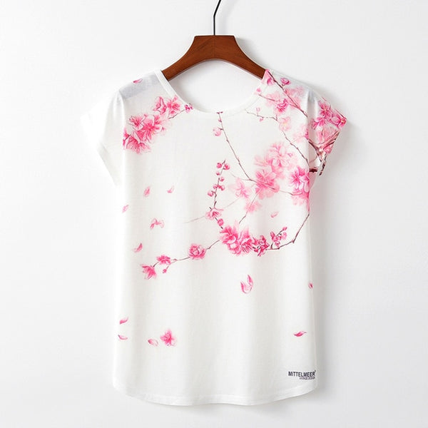 KaiTingu Spring Summer Women T Shirt Novelty Harajuku Kawaii Cute Style Bird Print T-shirt New Short Sleeve Tops Size M L XL