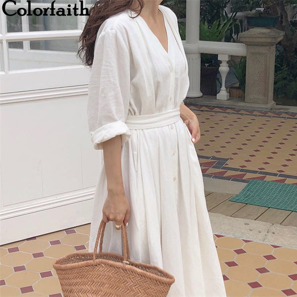 Colorfaith New 2019 Women Dresses Spring Summer Casual  Elegant Ladies Pleated Long White Dresses V Neck Lace Up Bow DR1086