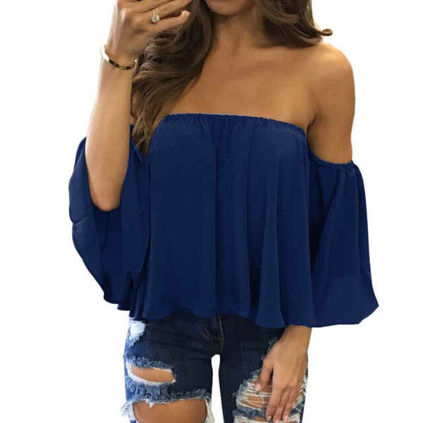 Tcyeek Summer Chiffon Sexy Shirt Women Tshirt Off Shoulder Top Korean Clothes Streetwear Tops Plus Size 5XL Shirts 2019 LWL1771