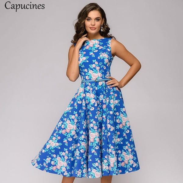 Capucines Elegant Vintage Dot Printing A-Line Dress Women 2019 Summer Sleeveless O-Neck Mid-Calf Casual Dress Female Vestidos