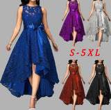 5 Colors Plus Size 5XL Women Lace Party Dress Joineles High Low Irregular Women Dress Round Neck Sleeveless Belts Party Vestidos