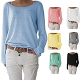 Newly Women Autumn T-shirts Long Sleeves Big Round Neck Pullover Loose Slim Fit Tops