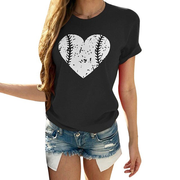 WENYUJH 2019 Harajuku Korean Style Slim Fit T Shirt Women Tops Heart Top Tshirt Women Summer Cotton Tee Shirt Femme Clothes