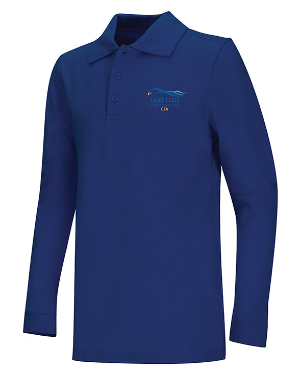Blue Unisex Long Sleeve Pique Polo