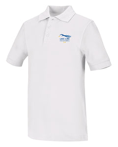 White Unisex Short Sleeve Pique Polo