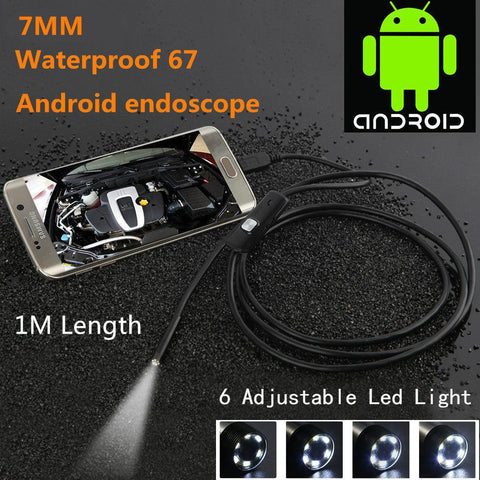Locksmith Inspection mini USB Camera Waterproof 480P HD 7mm lens Pipe 1m Endoscope Snake Tube with 6 LEDs Borescope For Android Phone PC - ZIPPY LOCKS
