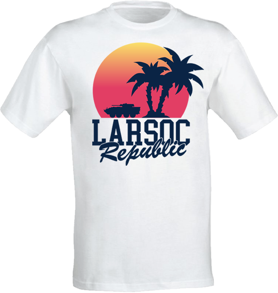 The SUNSET PALM LAV-25 T-SHIRT