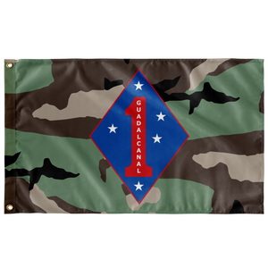 1ST MARINE DIVISION 3 COLOR WOODLAND 3' X 5' INDOOR FLAG