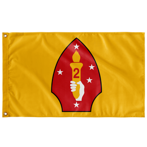 2ND MARINE DIVISION YELLOW 3' X 5' INDOOR FLAG